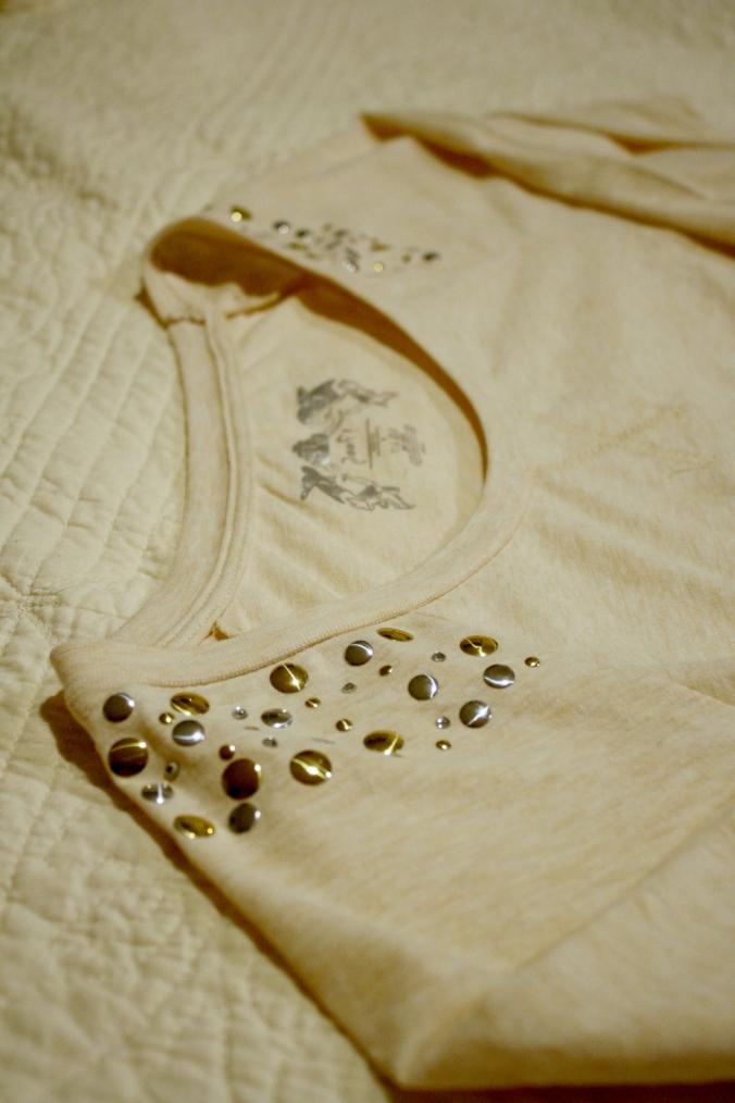 studded shoulder pullover