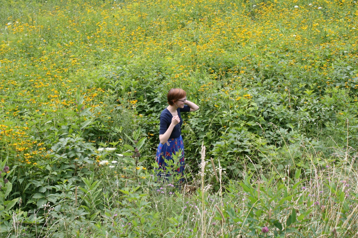 girl in wildflower field