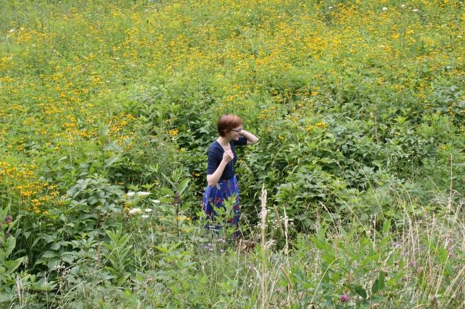 girl in wildflower field