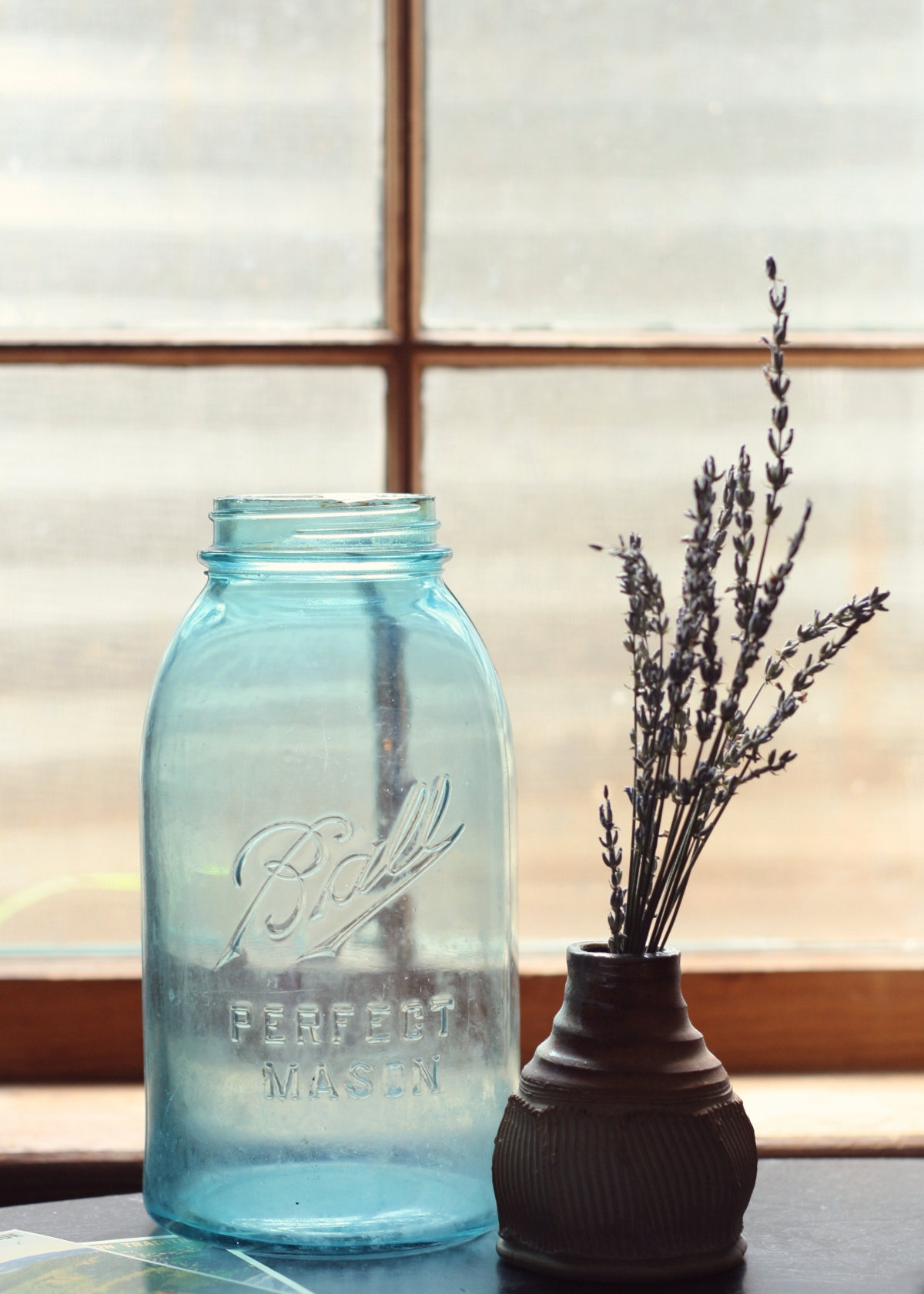 antique blue ball jar