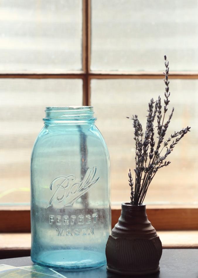 antique blue ball jar